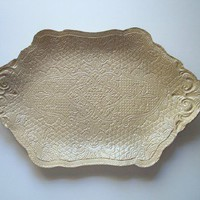 Beige Victorian Brocade Serving Platter