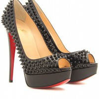 mytheresa.com -  Christian Louboutin - LADY PEEP SPIKES 150 PEEP-TOE PLATFORM PUMPS - Luxury Fashion for Women / Designer clothing, shoes, bags