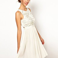 Warehouse Shoulder Detail Embellished Bodice Dress at asos.com