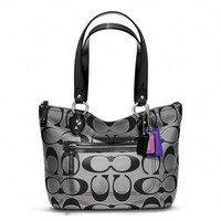 Coach :: Poppy Metallic Signature Sateen Small Tote
