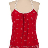 Beaded Scarf Print Tank