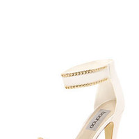 Louisah Chain Trim Ankle Strap Midi Heels