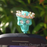 1PC Bling Crystal Painted Bright Color Skull w/Crown Earphone Charm Cap Anti Dust Plug for iPhone 5, iPhone 4, Samsung S3,Samsung S4