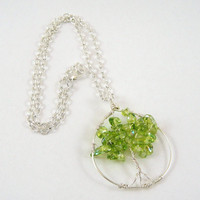 Green Glass Tree of Life Pendant Necklace