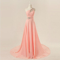 One-shoulder floor-length chiffon beadings appliques long prom dress