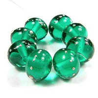 Shiny Glass Beads Transparent Light Teal Handmade Lampwork Bead Silver