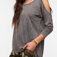 Sparkle & Fade Cut-Shoulder Long-Sleeve Tunic