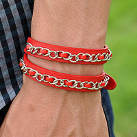 Jewelry Bangle Red Leather Bracelet Women Leather Cuff Bracelet Rivet Wrap Bracelet  RZ0259