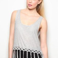 Gray Fringe-Bottom Tank Top