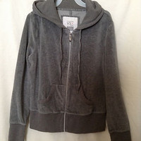 Victoria's Secret VSX Gray Zip Up Velour Hoodie Size Small