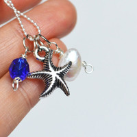 Starfish Ocean Necklace, Pearl Starfish Blue Czech Glass Necklace, Cluster Charm Necklace, Oceana Atlantis Necklace