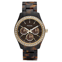 Buy Fossil ES2795 Women&#x27;s Stella Chronograph Tortoise Shell Plastic Strap Watch online at John Lewis