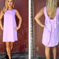 Purple Sleeveless Dress with Bow Back & High Neckline