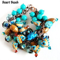 Brown and Teal Heart Charm Bracelet with Jasper and Shells Red Copper