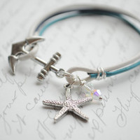 Anchor Bracelet No. 55- Under the Sea- Anchor clasp bracelet, Starfish bracelet, summer bracelet