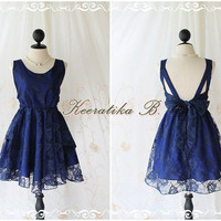 A Party V Shape -  Prom Party Cocktail Wedding Bridesmaid Dinner Night Backless Lacy Dress Navy Lace Royal Blue Lined Color Roses Pattern