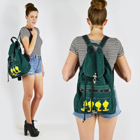 vtg 90s grunge revival green TWEETY bird LOONEY TUNES cartoon large rucksack backpack