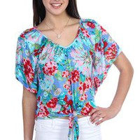 floral print peasant top with tie front  - 1000047072 - debshops.com