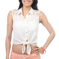 sleeveless tie front crop top with crochet patch on shoulders - 1000045909 - debshops.com
