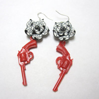 Guns & Roses Earrings Western 6 Shooter Jewelry by sweetie2sweetie