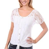 peasant top with button and tie front - 1000046481 - debshops.com