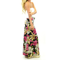 Hawaii Dream Flower Print Maxi Skirt