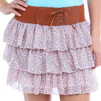 ditsy floral chiffon ruffle skirt - 1000045385 - debshops.com