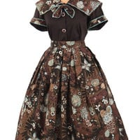 60s Dresses- 60's Metallic Floral Butterfly Print Full Skirt Blouse Set