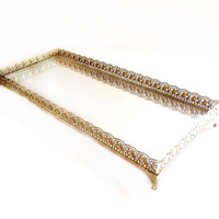 Retro Brass Vanity Dresser Mirror Tray