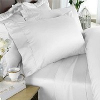1500 Thread Count Egyptian Cotton 1500TC 5 Piece Bed Sheet Set, Queen, White Solid 1500 TC - INCLUDES MATCHING 1500TC BED SKIRT | Egyptian Cotton Factory Outlet Store