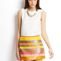 UMGEE Coral Sequin Front Mini Skirt