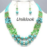 Elegant LAYERS Turquoise Stone Lime Teal Green Beads HANDCRAFTED Necklace Set