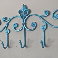 Iron Wall Hook /Aqua / Fleur de lis metal decor/ by AquaXpressions