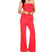 Tomato Smocked Strapless Jumpsuit