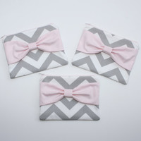 Bridesmaid Gift - Set of (3) Three Cosmetic Cases / Zipper Pouches - Gray Chevron with Light Pink Center Bow