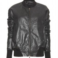 mytheresa.com -  Haider Ackermann - LEATHER JACKET WITH FABRIC INSERTS  - Luxury Fashion for Women / Designer clothing, shoes, bags