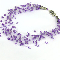 Purple Necklace. Wedding Necklace. Beadwork.  Multistrand Necklace.