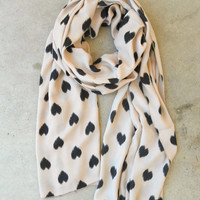 Sketched Hearts Scarf in Taupe [3325] - $16.00 : Vintage Inspired Clothing &amp; Affordable Summer Frocks, deloom | Modern. Vintage. Crafted.