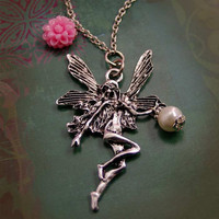Silver Fairy Pink Pearl Necklace