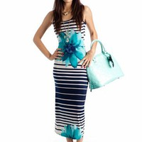 striped floral maxi dress $32.20 in CORALBLACK NAVYTURQ - Casual | GoJane.com