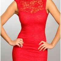 The Milan Coral Lace Neck Dress - 29 N Under