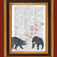 Loving American BLack Bear Print, Lovers print, Vintage illustration on old upcycled dictionary page, Valentine's day Gift