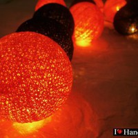 Red Yellow Gold and Brown Cotton Ball String Lights Patio Wedding and Party Decoration