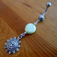 Belly button ring  Sun Belly Button Ring with by ChelseaJewels
