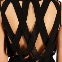 Pre-Order Black High Low Criss Cross Back Dress