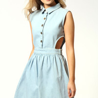 Sasha Cut Out Sides Denim Skater Dress