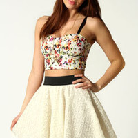 Lola Floral and Crochet Netted Prom Skirt