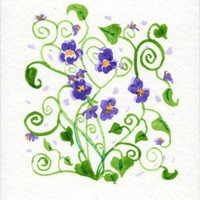 Violets birth flower for february original Watercolor floral ACEO | amyelyseneer - ACEO on ArtFire