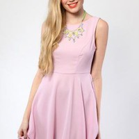 Light Pink A-line Dress with Small Bow Back Detail