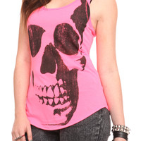 Neon Pink Skull Girls Tank Top | Hot Topic